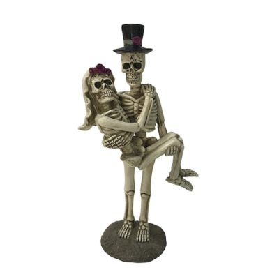 skeleton bride groom cake topper statue