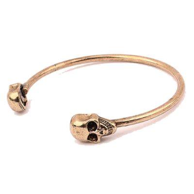 dual skull cuff bracelet rose gold 2