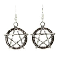 night frights pentacle pentagram Wiccan dangle earrings