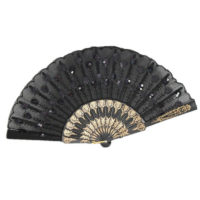 night frights gothic black sequined victorian wedding fan