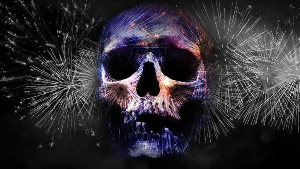 night frights fireworks horror skull