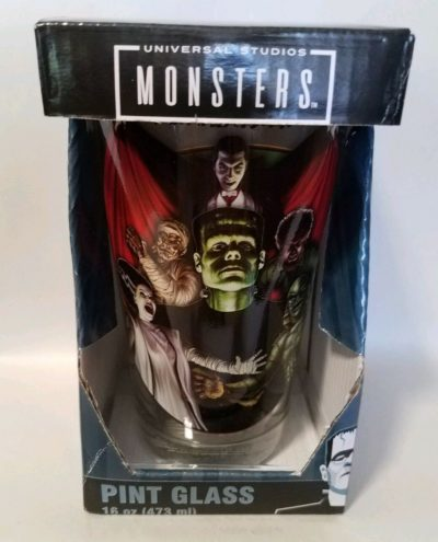 night frights universal studios monsters pint glass