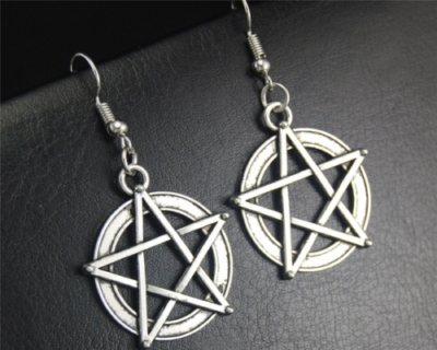 pentacle pentagram dangle earrings