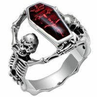 Night Frights stainless steel skeleton skull enamel coffin ring red