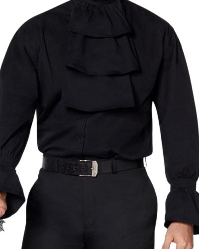 gothic black vampire jabot shirt
