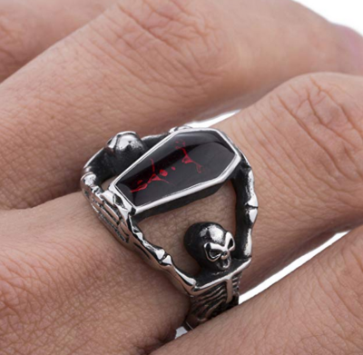 Night Frights stainless steel skeleton enamel coffin ring on finger